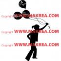 Sticker Fillette qui tient des ballons avec prénom