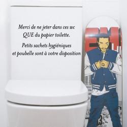 Sticker texte WC Merci de ne jeter dans ces wc QUE du papier toilette