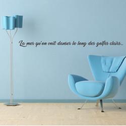 Sticker extrait chanson Charles Trenet - La mer qu'on voit danser le long des golfes clairs