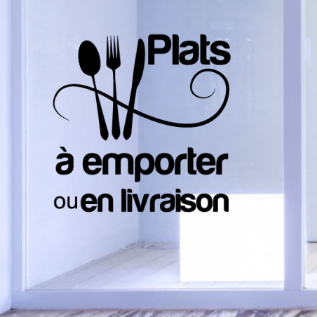 Sticker Vitrine Restaurant Plats à emporter ou en Livraison