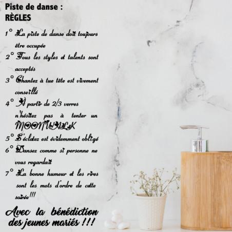Sticker texte Les règles de la piste de danse
