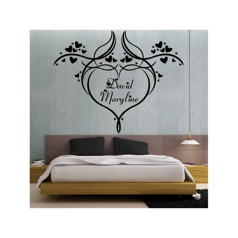 Sticker Coeur Design avec prénoms