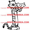 Sticker Calvin and Hobbes Coeur