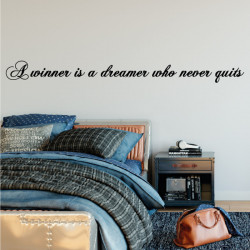 Sticker texte A winner is a dreamer who never quits