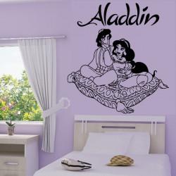 Sticker mural Aladdin et Jasmine sur coussin