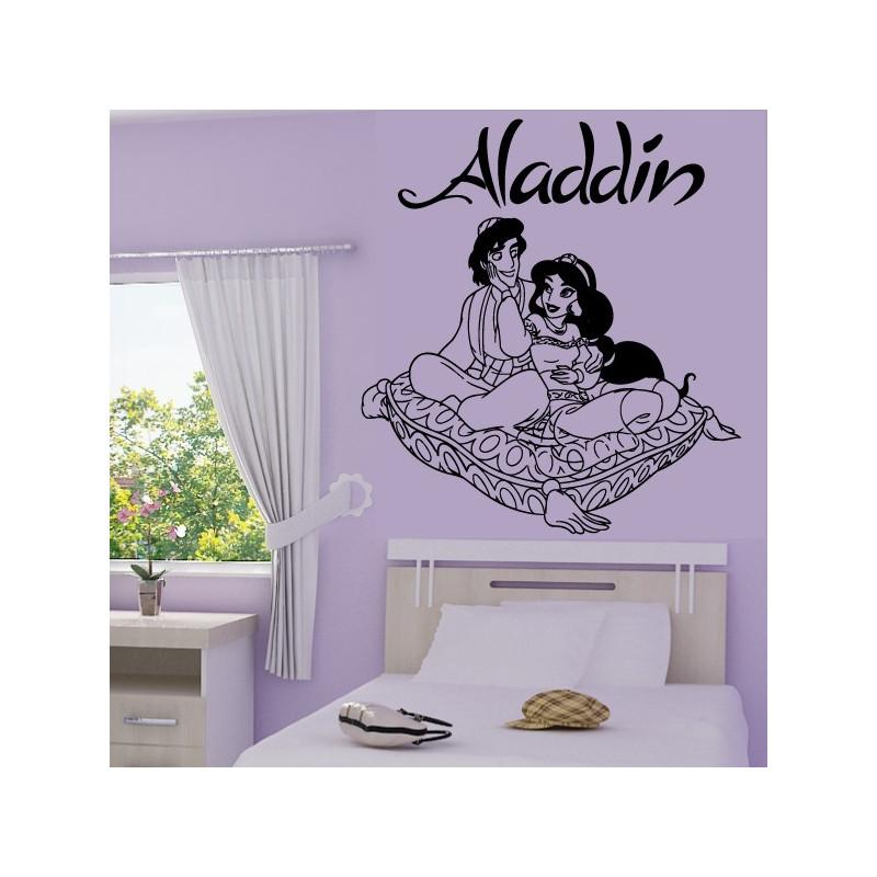 Sticker Aladdin et Jasmine sur coussin