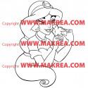 Sticker Aladdin - Jasmine et l'oiseau