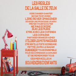 Sticker Texte Les règles de la salle de jeux