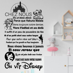 Sticker texte Chez nous, On vit Disney