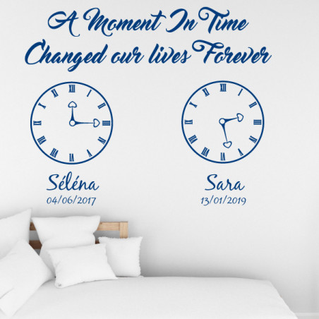 Sticker Lettrage : A moment in time changed our lives Forever - Prénoms et Dates