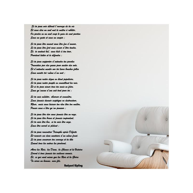Sticker poème Rudyard Kipling - Tu seras un homme mon fils