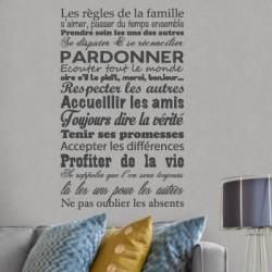 Sticker Texte Les règles de la Famille...Ne pas oublier les absents