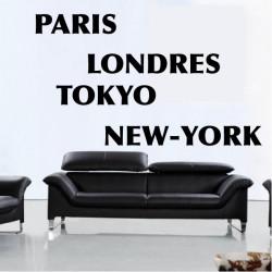 Stickers Texte Paris-Londres-New-York-Tokyo