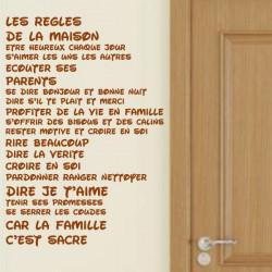 Texte : Les règles de la maison...car la famille c'est sacré