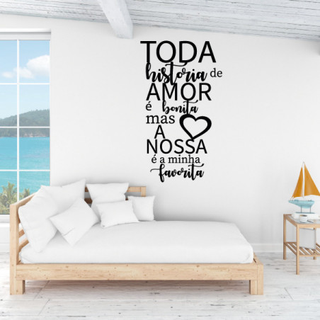 Sticker texte Espagnol :Toda historia de amor é bonita