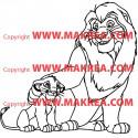 Sticker Roi Lion Simba et son père Mufasa