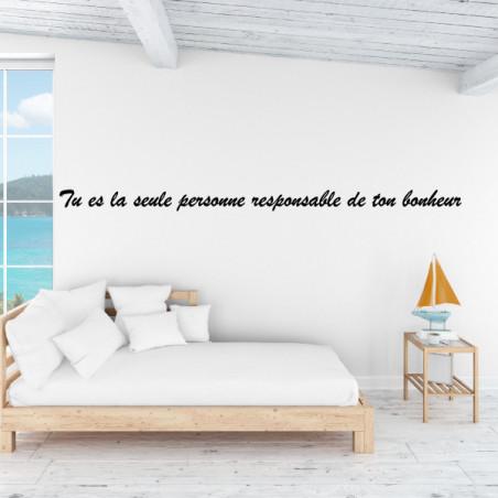 Sticker texte : Tu es la seule personne responsable de ton bonheur