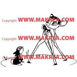 Sticker Bambi et Panpan sous la neige