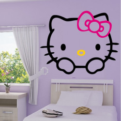 Sticker noeud hello kitty 2 couleurs - Tete hello kitty ...