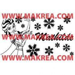 Sticker La Reine des Neiges - Elsa Flocons + Prénom personnalisable