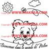 """Sticker Tête Ourson """"Bienvenue dans le monde de ..."""""""