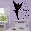 Sticker Silhouette Fée Clochette Baguette + prénom