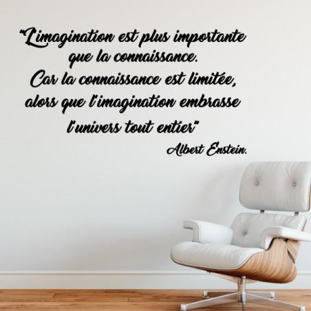 Sticker Citation L'imagination est plus importante que la connaissance...Albert Enstein.