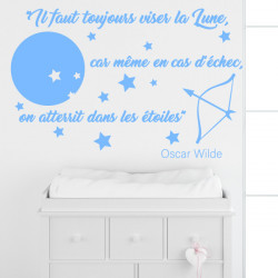 Sticker Citation : Oscar Wilde - Il faut toujours viser la lune - Déco lune étoiles et flèche