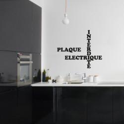 Sticker lettrage : Plaque Electrique Interdite