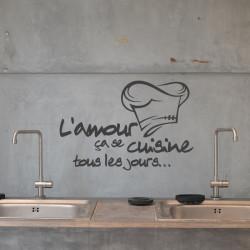 Sticker Cuisine - L'amour ça se cuisine tous les jours + Toque