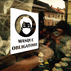 Sticker Vitrine Masque Obligatoire Rectangulaire COVID-19