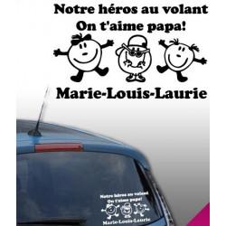 Sticker Bébé à Bord - 3 enfants heureux - Notre héros au volant