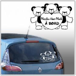 Sticker Bébé à Bord - 3 Oursons Coeurs