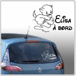 Sticker Bébé à Bord - Chaton Pelote