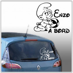 Sticker Bébé à Bord - Schtroumpf Ballon