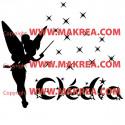 Sticker de porte - Fée Clochette Pluie d'étoiles + prénom
