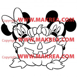 Sticker Mickey Minnie Citrouille Halloween