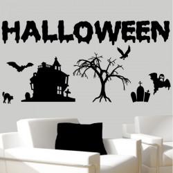 Pack / kit Halloween Décor Maison, Arbre, Chauve-souris, Cimetière, Chat, Fantôme