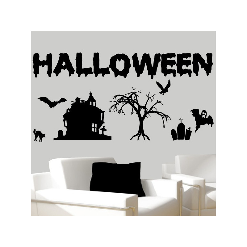 sticker pack kit halloween d cor maison arbre chauve souris cimeti re chat fant me. Black Bedroom Furniture Sets. Home Design Ideas
