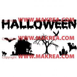 Sticker Pack / kit Halloween Décor Maison, Arbre, Chauve-souris, Cimetière, Chat, Fantôme