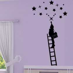 Sticker Enfant qui attrape les étoiles sur échelle