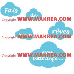 """Stickers Nuages """"Fais de Beaux Rêves petit ange ..."""" 2 couleurs"""