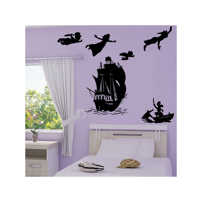 Sticker pack silhouette peter pan s 39 envole bateau pirate - Bateau pirate peter pan ...