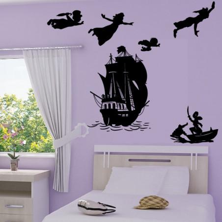 Sticker PACK Silhouette Peter Pan s'envole, bateau pirate, Capitaine Crochet