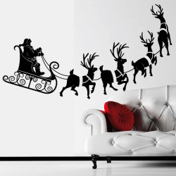 Sticker Noël - Traîneau, Rennes et Père Noël
