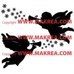 Sticker Noël - 2 Anges Flocons de Neige