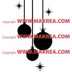 Sticker Noël - Boules de Noël et étoiles