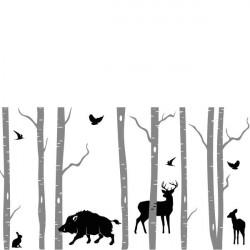 Sticker Nature - 8 Arbres Bouleaux, cerf, sanglier, faon, lapin, oiseaux