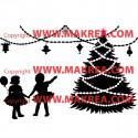 Sticker Sapin de Noël, Guirlandes et enfants