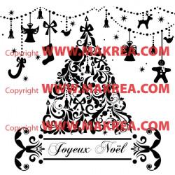 Sticker Sapin de Noël et décor guirlandes